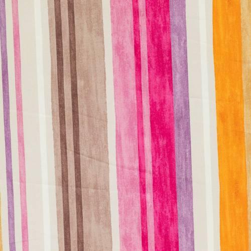 Coton impression numérique rayé fuchsia, gris et orange