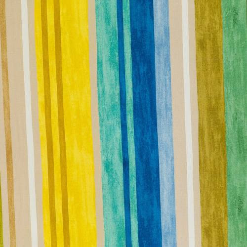 Coton impression numérique rayé vert, jaune et bleu