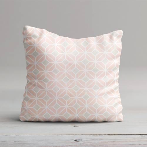 Coton impression numérique rose pastel motif géométrique