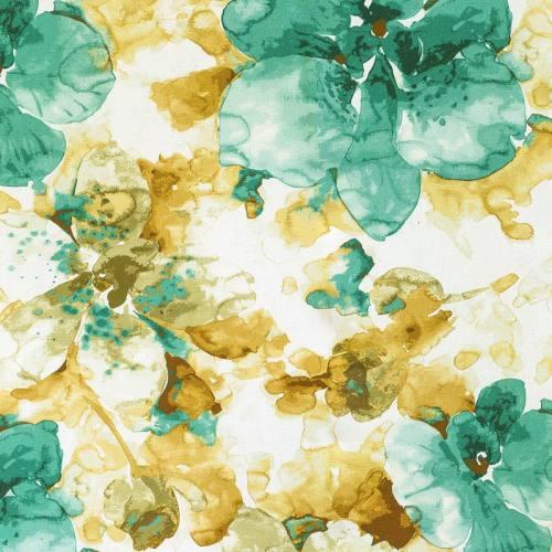 Coton impression numérique pétale de fleur verte aquarelle