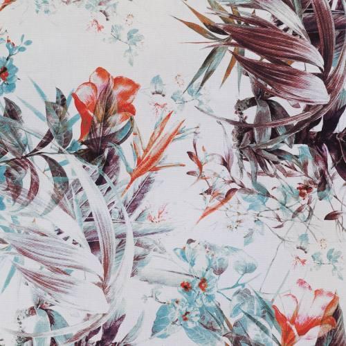 Coton impression numérique blanc motif fleur bleue et blanche