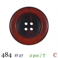 Bouton rouge aspect bois rond 4 trous 27mm