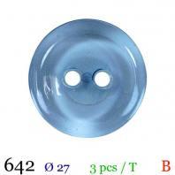 Bouton transparent bleu nacré rond 2 trous 27mm