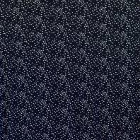Maille microfibre bleue marine imprimée petites feuilles