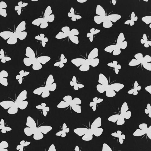 Maille microfibre imprimée noire motif papillon