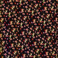 Tissu microfibre noir imprimé tulipe et rose
