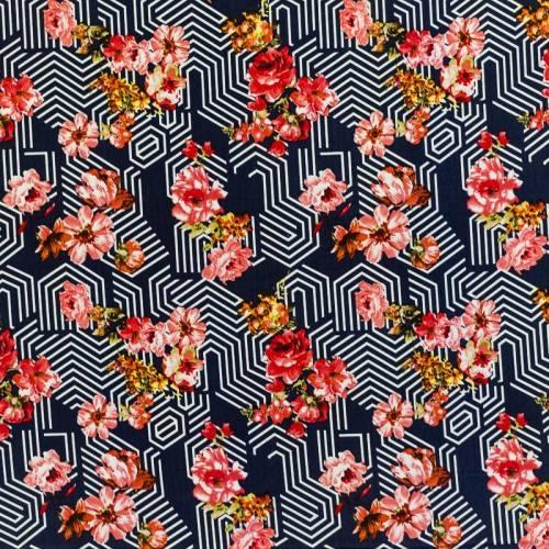 Tissu microfibre bleu marine imprimé fleur et motif géométrique