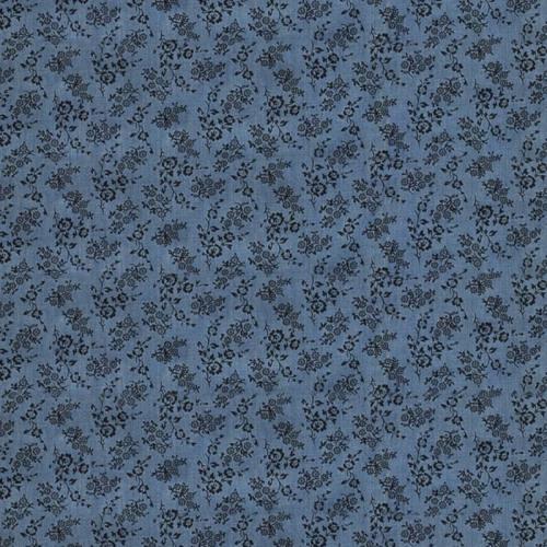 Tissu jean chambray à motif fleurs