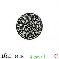 Bouton métal fleuri rond à queue 18mm