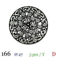 Bouton métal fleuri rond à queue 27mm