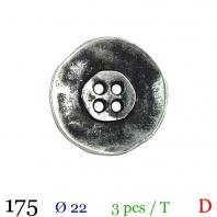 Bouton argenté et noir métal rond 4 trous 22mm