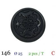 Bouton noir métal rond militaire à queue 25mm