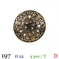Bouton doré métal fleuri rond à queue 22mm