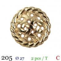 Bouton doré métal rond motif carreaux à queue 27mm