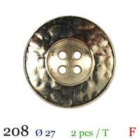 Bouton doré métal rond 4 trous 27mm