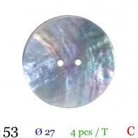 Bouton akoya naturel rond 2 trous 27mm