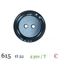Bouton bleu marine 2 trous 22mm
