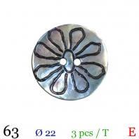 Bouton akoya naturel fleur rond 2 trous 22mm