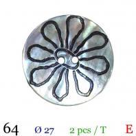 Bouton akoya naturel fleur rond 2 trous 27mm