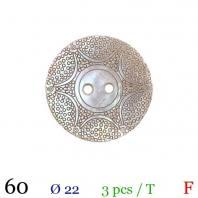 Bouton nacré motif étoile rond 2 trous 22mm