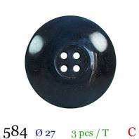 Bouton bleu aspect marbre rond 4 trous 27mm
