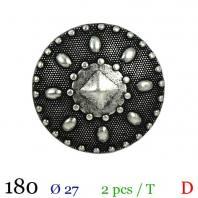 Bouton argenté métal rond vintage à queue 27mm