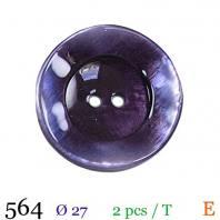 Bouton violet nacré rond 2 trous 27mm