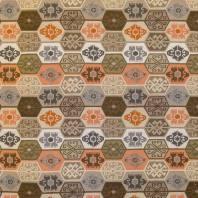 Jacquard orange, marron et gris motif aztèque