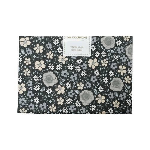 Coupon 40x60 cm coton fleurs anisley noires