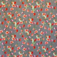 Tissu microfibre gris imprimé tulipe et rose