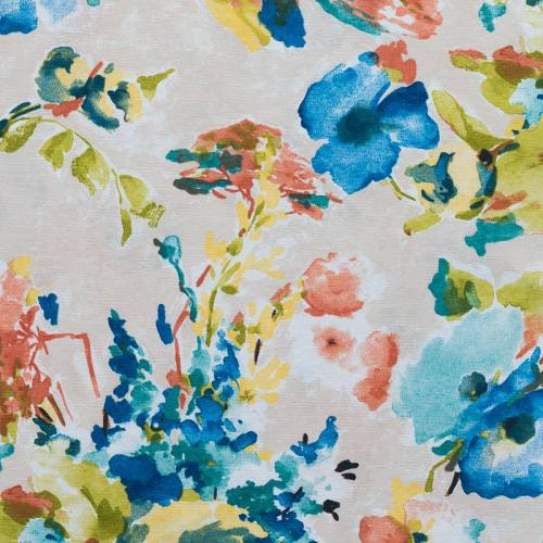 Toile polycoton imprimé aquarelle bleue grande largeur