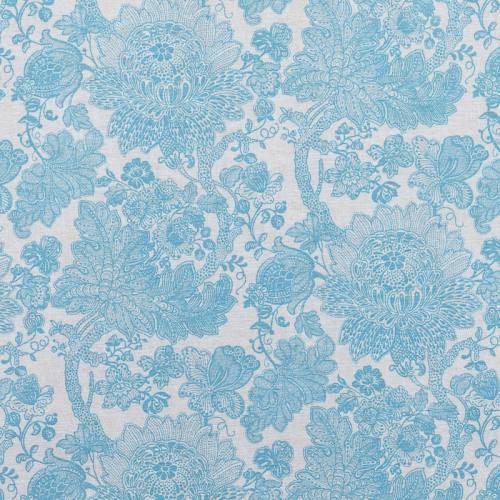 Toile polycoton imprimée mandala fleuri bleu grande largeur