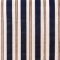 Toile polycoton rayé bleu marine et taupe grande largeur