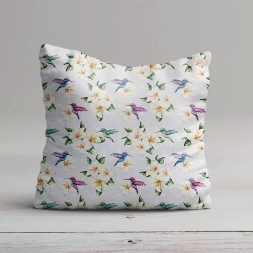 Popeline grise imprimé fleurs et oiseaux