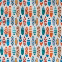 Popeline blanche imprimé planches de surf