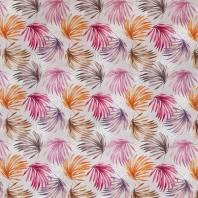Popeline grise imprimé palme multicolore