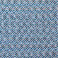 Popeline à losanges bleus et points rouges