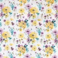 Popeline blanche imprimé fleurs aquarelle