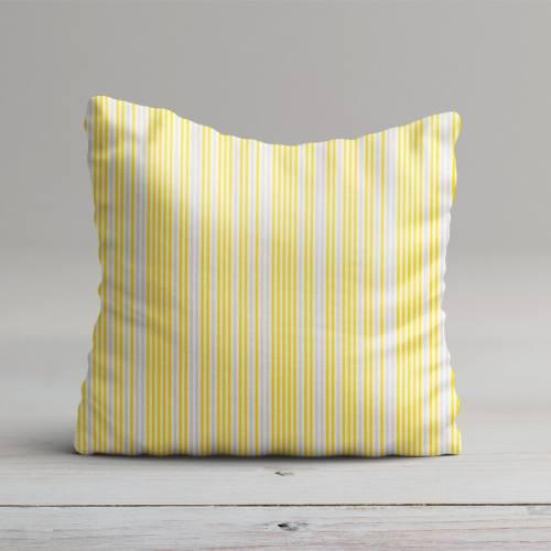 Popeline blanche rayée jaune et gris