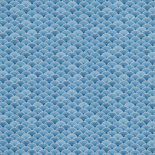 Toile polycoton aspect lin imprimé seigaiha bleue