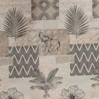 Jacquard beige, doré et noir motif palme et éléphant