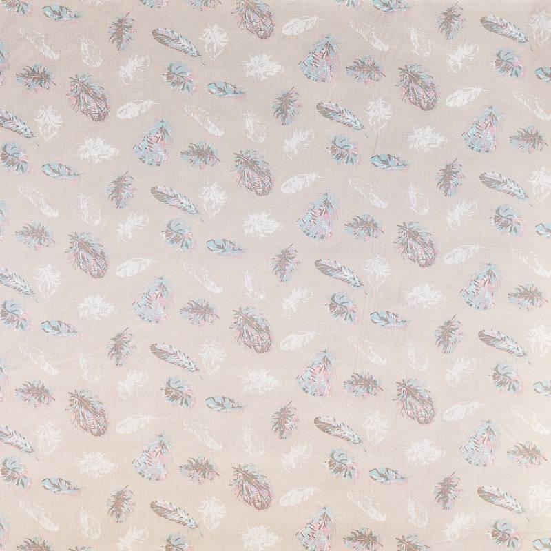 coton beige motif plume pas cher tissus price. Black Bedroom Furniture Sets. Home Design Ideas