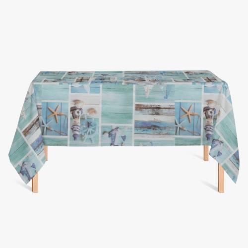 Toile cirée bleue motif étoile de mer et bateau