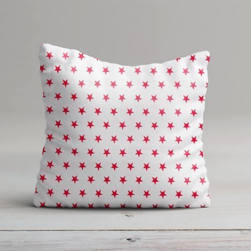 Coton blanc motifs étoiles rouges