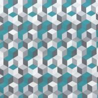 Toile cirée blanche et grise motif géométrique bleu canard