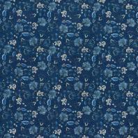 Percale de coton bleu imprimé fleuri