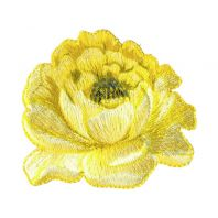 """Écusson brodé """"Grande fleur"""" thermocollant jaune"""