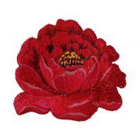 """Écusson brodé """"Grande fleur"""" thermocollant rouge"""