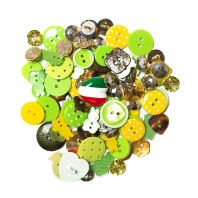 Lot de 50 g de boutons verts et jaunes