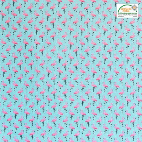 Coton bleu imprimé flamant-rose